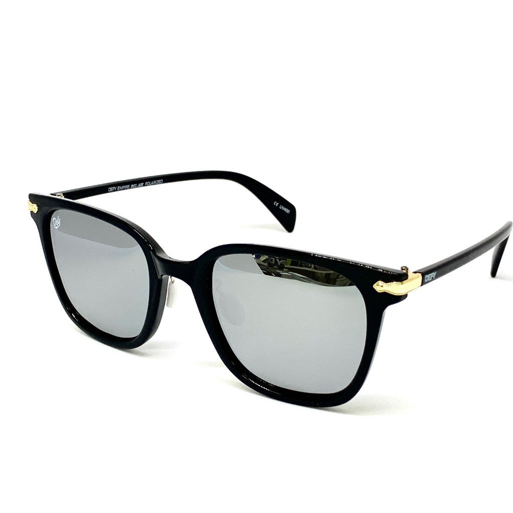 BEL AIR - GLOSS BLACK FRAME/SILVER MIRROR POLARIZED LENSES SUNGLASS