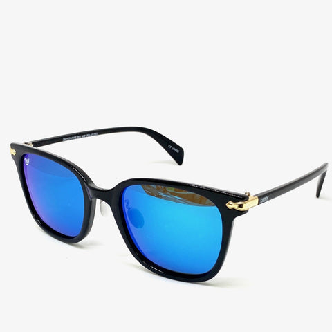 BEL AIR - GLOSS BLACK FRAME/BLUE MIRROR POLARIZED LENSES SUNGLASS