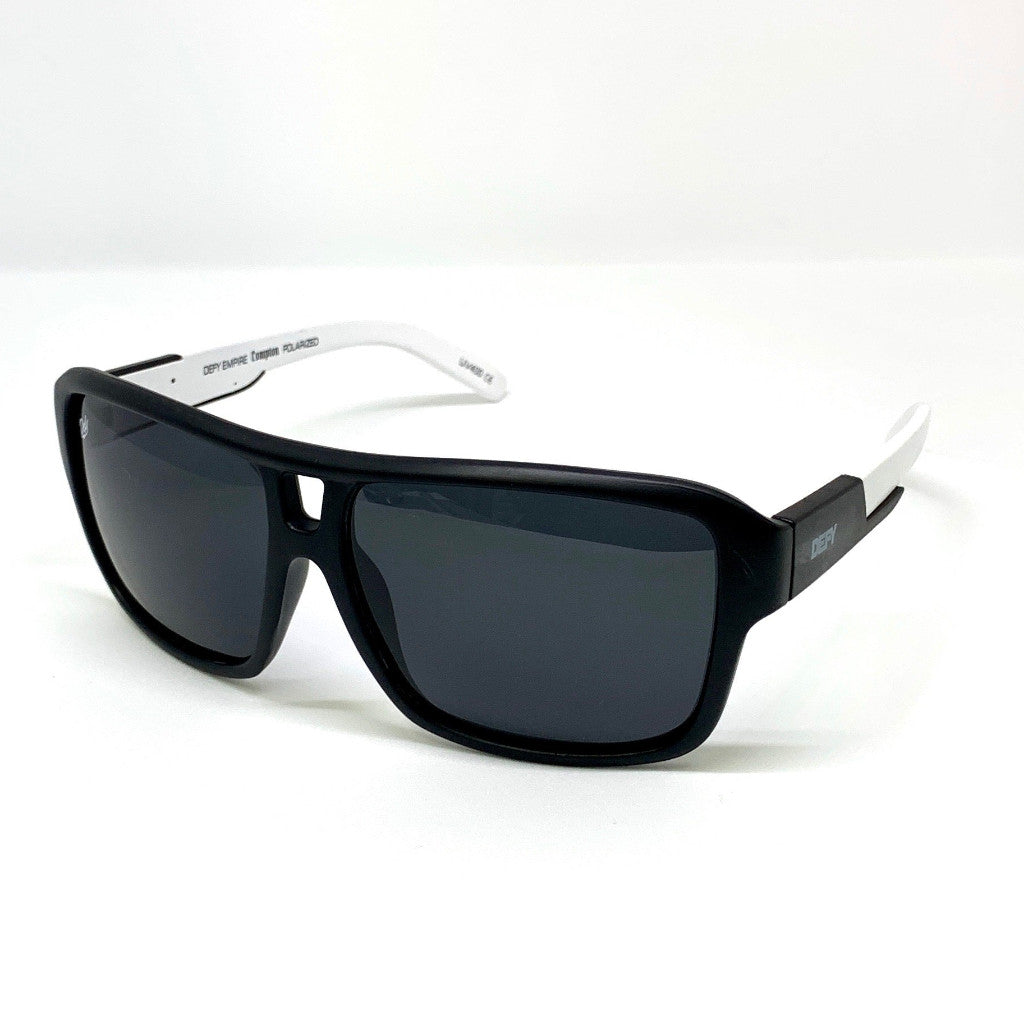 COMPTON - MATTE BLACK WHITE FRAME/GREY POLARIZED LENSES LIMITED EDITION SUNGLASS
