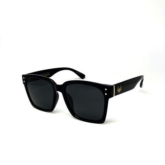 DEFY / PRIVATA KENJI LIMITED EDITION - GLOSS BLACK FRAME/DARK GREY POLARIZED LENSES LUXURY SUNGLASS