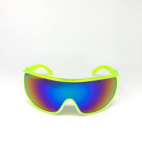 DEFY / PRIVATA EL GANADOR LIMITED EDITION - ACID LIME FREEZE FRAME/BURNT BLUE TITANIUM MIRROR LENSES LUXURY SUNGLASS