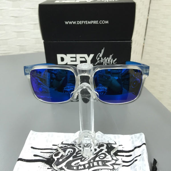 CUSTOMIZED BROOKLYN - CLEAR FRAME/BLUE POLARIZED LENSES