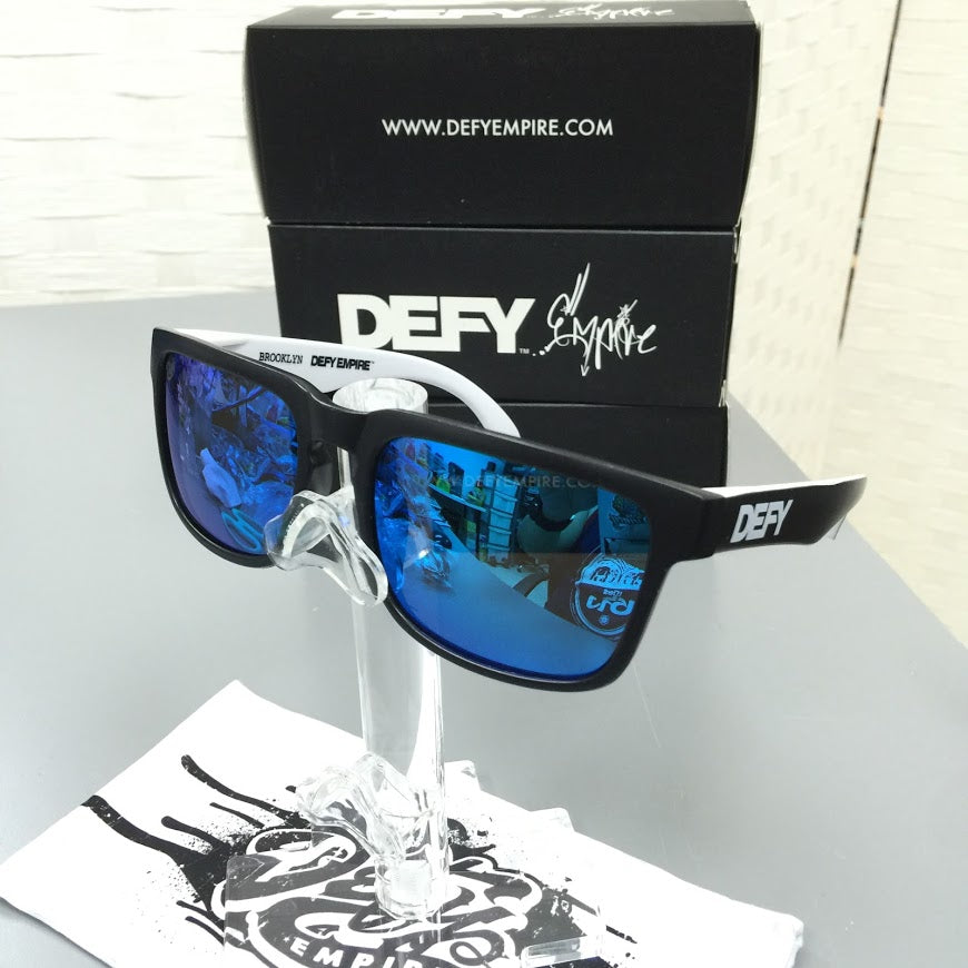 CUSTOMIZED BROOKLYN - MATTE BLACK FRONT AND BLACK/WHITE ARMS/BLUE POLARIZED LENSES