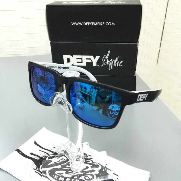 CUSTOMIZED BROOKLYN - MATTE BLACK FRONT AND BLACK/WHITE ARMS/BLUE POLARIZED LENSES SUNGLASS