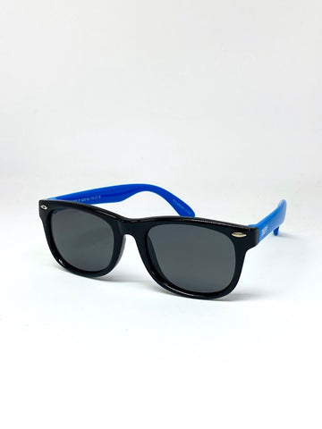 DEFY EMPIRE FLORIDA KIDS - GLOSS BLACK BLUE / GREY POLARIZED SUNGLASS