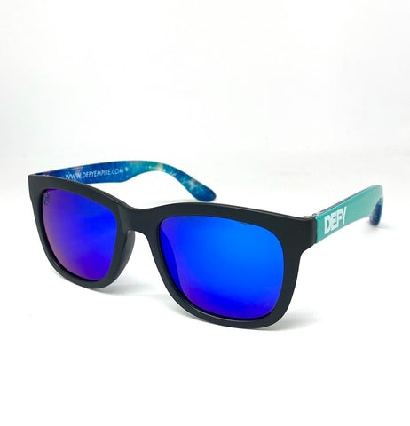 CUSTOMIZED HAWAII -  MATTE BLACK/TEAL BLUE MIRROR POLARIZED SUNGLASS
