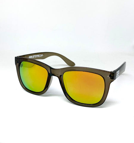 "CUSTOMIZED HAWAII - ""JUICY"" FROSTED GREY/FIRE ORANGE MIRROR POLARIZED SUNGLASS"
