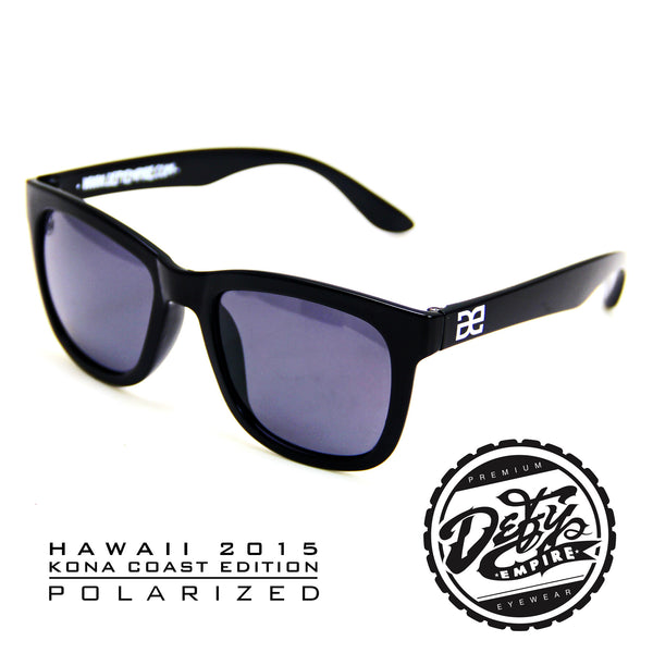 "HAWAII - ""KONA COAST"" GLOSS BLACK/GREY POLARIZED SUNGLASS"