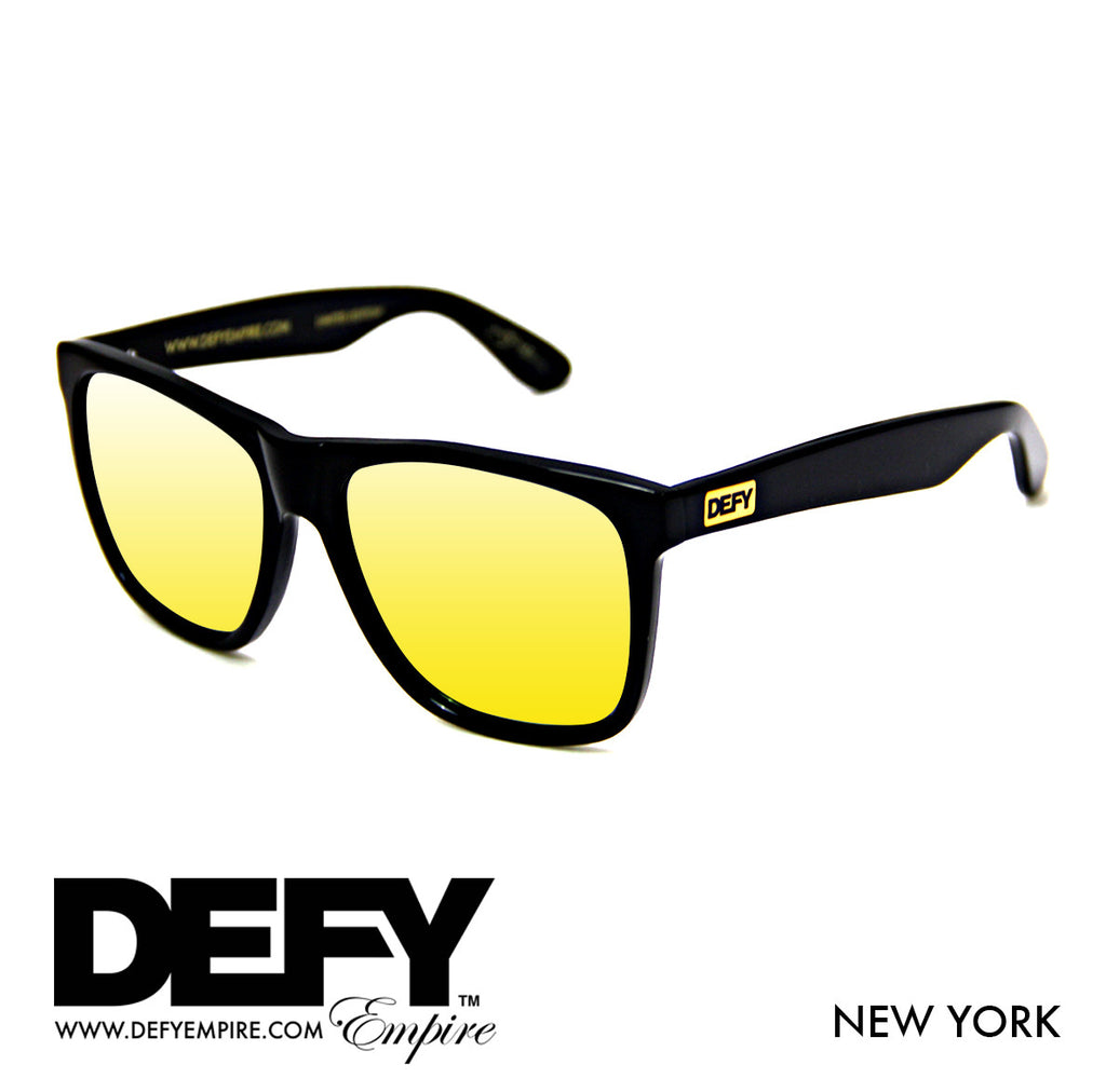 NEW YORK GLOSS BLACK / GOLD POLARIZED SUNGLASS