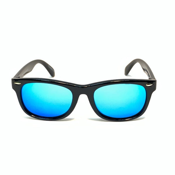 FLORIDA KIDS - GLOSS BLACK / BLUE MIRROR POLARIZED SUNGLASS