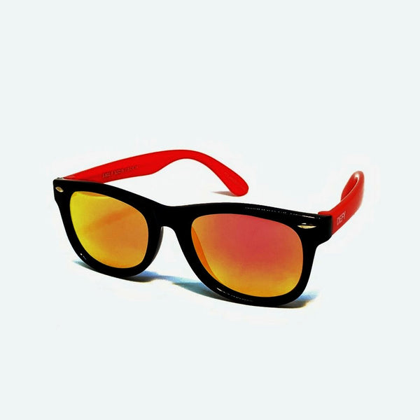 FLORIDA KIDS - GLOSS BLACK / RED PINK MIRROR POLARIZED SUNGLASS