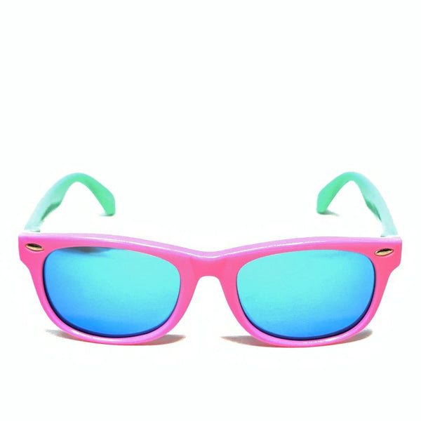 FLORIDA KIDS - GLOSS BABY PINK BLUE / BLUE MIRROR POLARIZED SUNGLASS