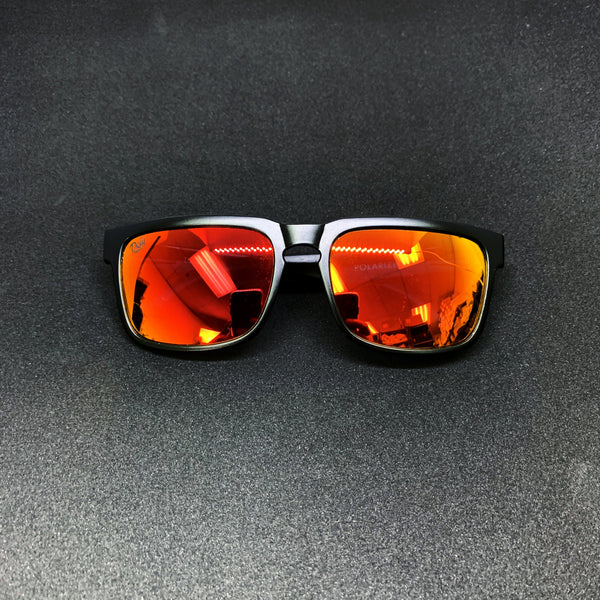BROOKLYN - MATTE BLACK FRAME/RED MIRROR POLARIZED LENSES SUNGLASS TOP SELLER
