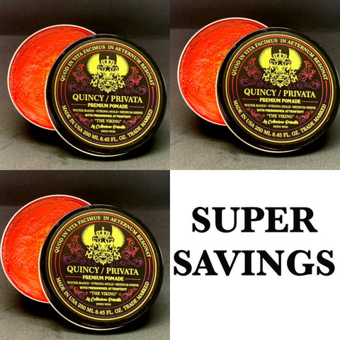 BUNDLE DEAL - 3 QUINCY PRIVATA VIKING  POMADE 250ML LOW STOCK!