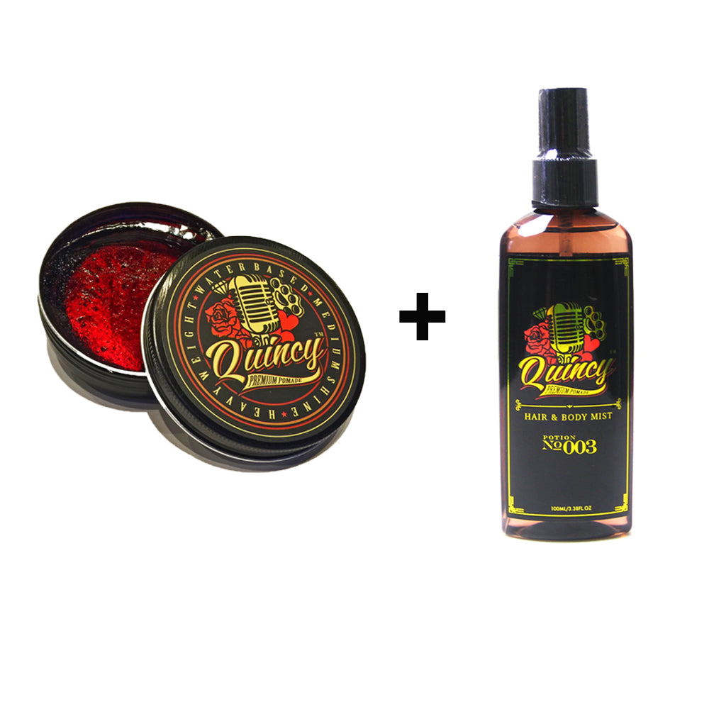 BUNDLE DEAL - 1 QUINCY HAIR AND BODY MIST #003 100ML + 1 QUINCY POMADE ORIGINAL 100ML