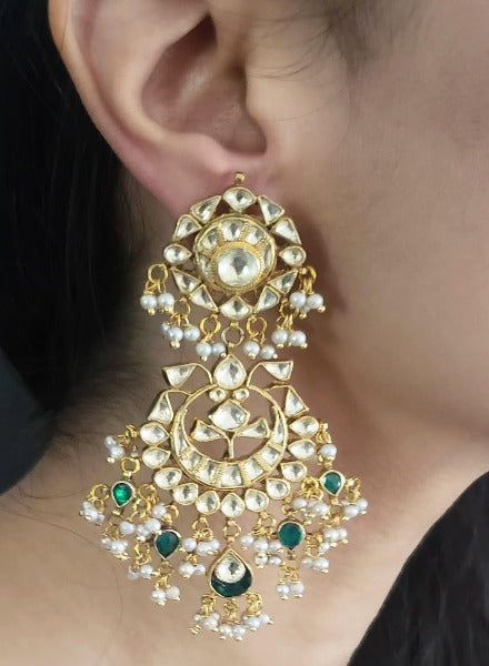 Kundan crescent earrings