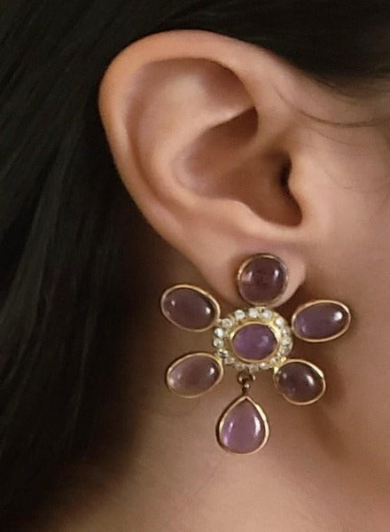 Amethyst pure silver flower earrings