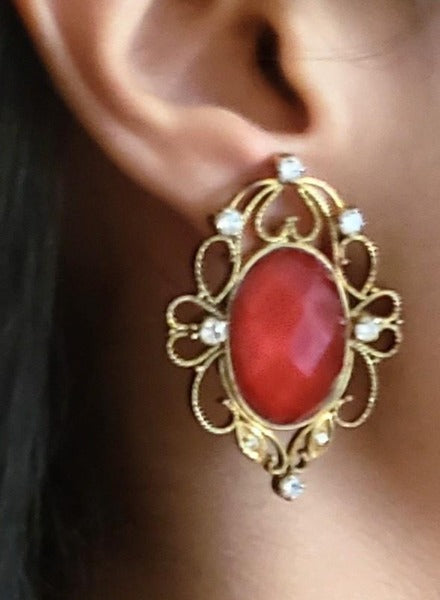 Antique red crystal pure silver earrings
