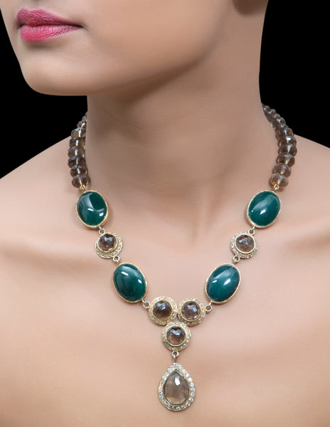 Encased chrysocolla cabachon & smoky quartz necklace