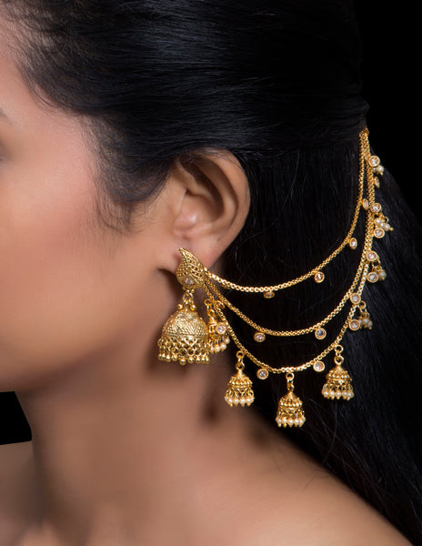 Gold jhumkis ear to hair extension