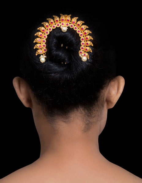 Faux Ruby & gold bun accessory