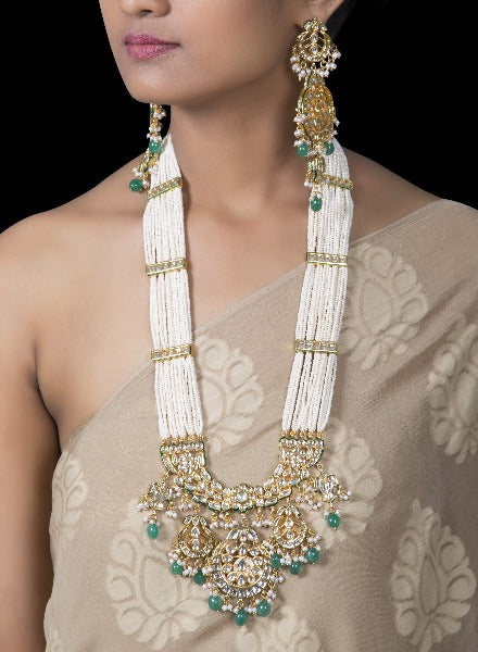 Multi string pearl and kundan necklace