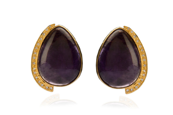 Pear drop amethyst & zirconia earrings in pure silver