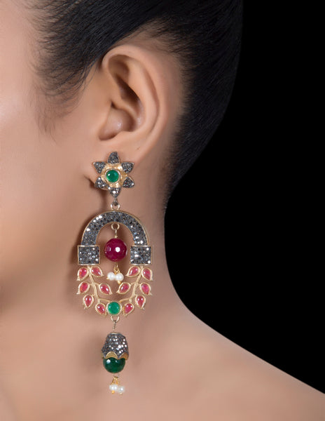 Delicate antique ruby earrings