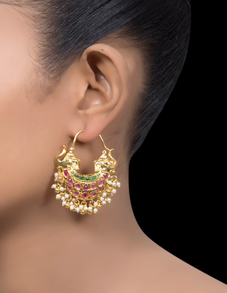 Ruby & emerald double headed elephant earrings