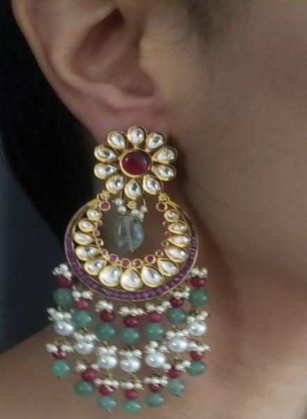 Ruby & aventurine Chandbali earrings