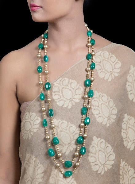 Emerald rondelles with gold beaded necklace - Jade and Jewels