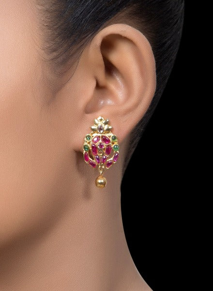 Gold tone ruby & emerald earrings