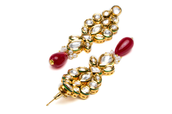 Kundan flower earrings with ruby drop