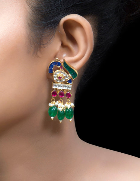 Multi coloured stone earrings