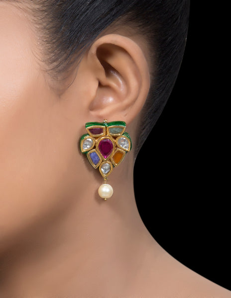 Navrattan half flower earrings with a pearl drop