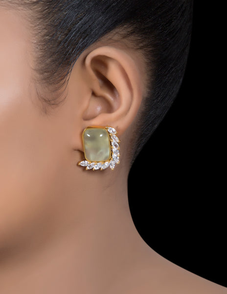 Pale green phrenite & zirconia leaf stud earrings