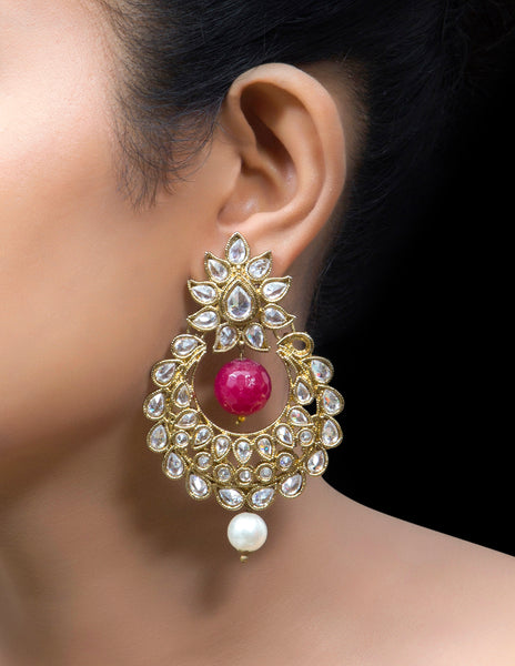 Polki Chandbali earrings with ruby drop