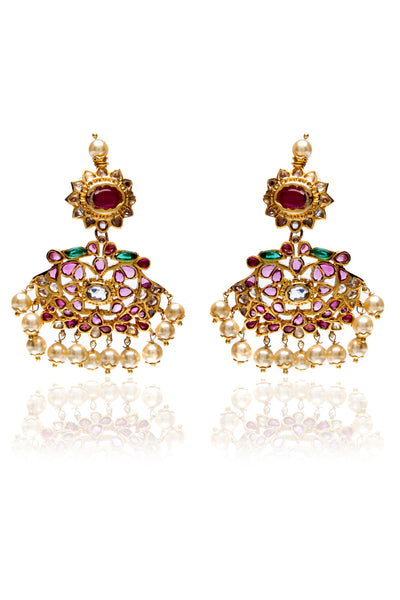 Ruby elliptical earrings with pearl drops