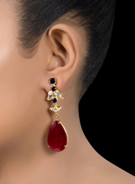 Ruby drop earrings with zirconia leaves
