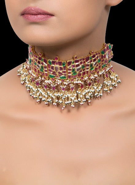 Ruby & emerald bird choker with  pearls