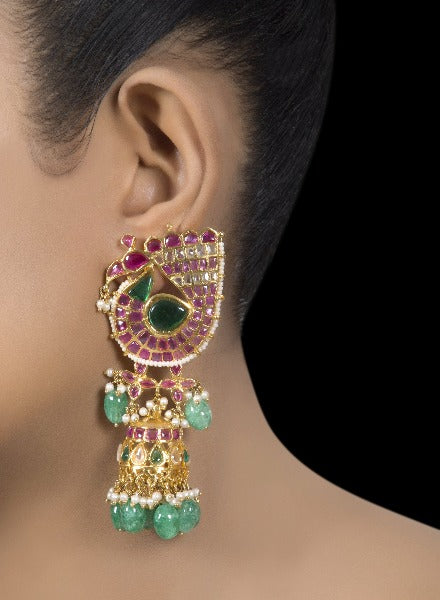 Ruby & emerald gold tone dangler earrings