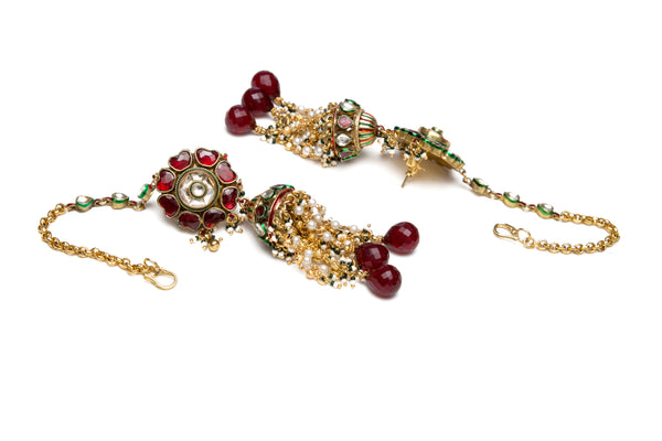 Ruby flower earrings with meena jhumkis