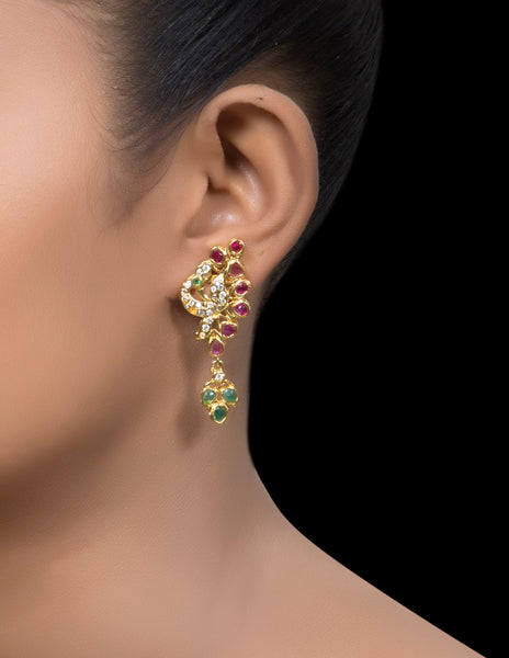 Zirconia ruby & emerald drop earrings