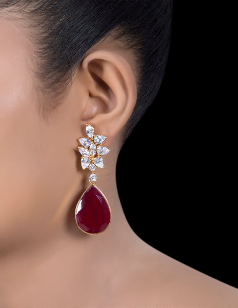 Ruby and zirconia drop earrings