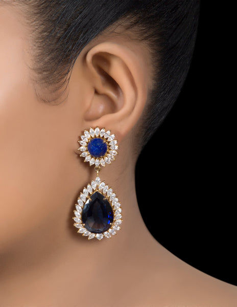 Silver Sapphire & zirconia stud & drop earrings