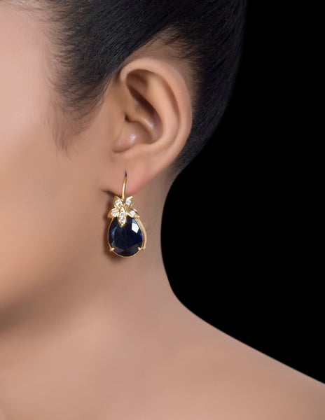Sapphire & zirconia pure silver   earrings