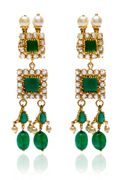 Gold tone emerald drop earrings