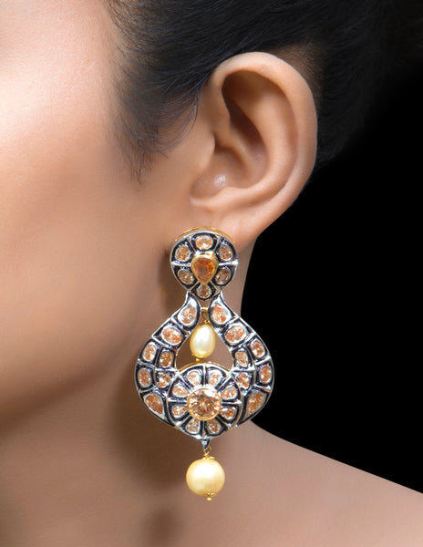 Kundan & meena chandbali earrings with pearl drop