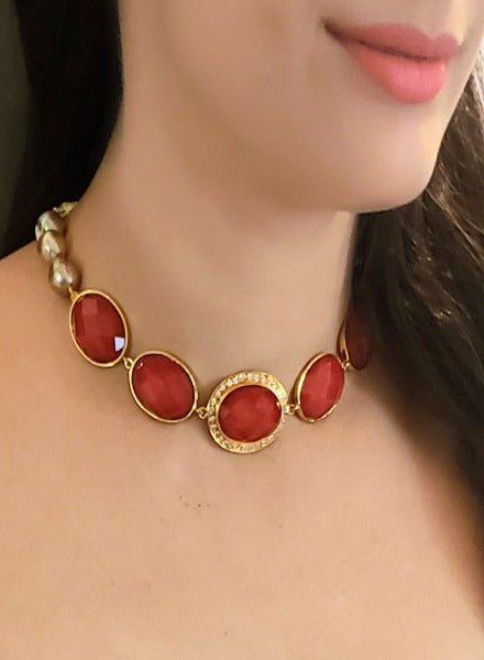 Red faceted crystal choker