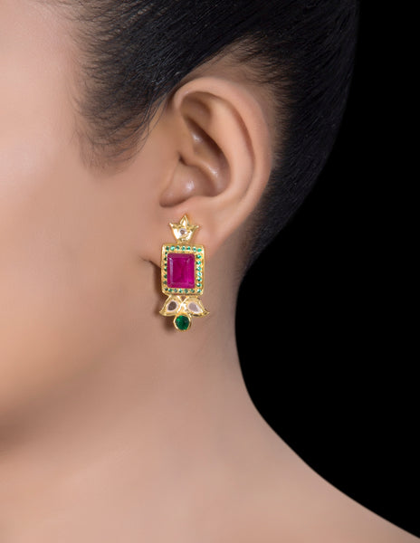 Polki framed ruby earrings